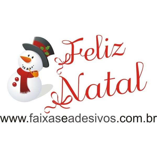 Adesivo Feliz Natal com Boneco de Neve (P-M-G)  - Fac Signs