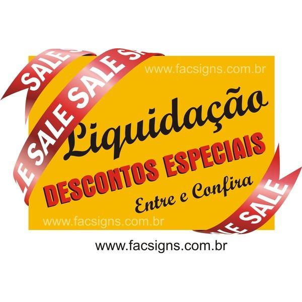 Adesivo de Vitrine Liquidação 80 x 60cm  - FAC Signs Impressão Digital