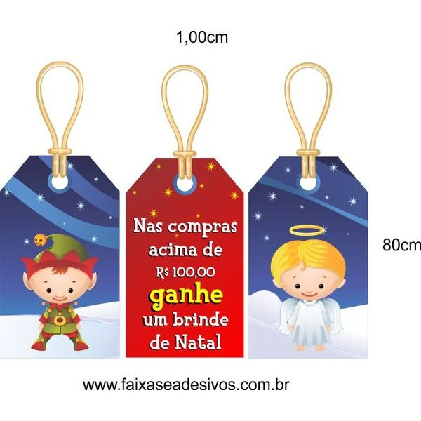 Adesivo Tag Natal Brinde 1,00 x 0,80m  - Fac Signs