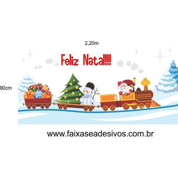 Adesivo Trenzinho de Natal na Neve 2,20 x 0,90m  - Fac Signs