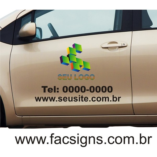 Adesivo para porta de carro 55x70cm com logo impresso  - FAC Signs Impressão Digital
