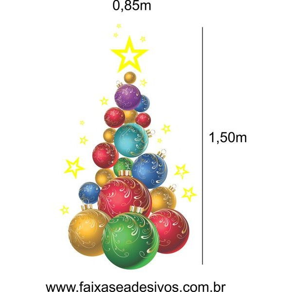 Adesivo Arvore Bolas de Natal - 2521  - Fac Signs