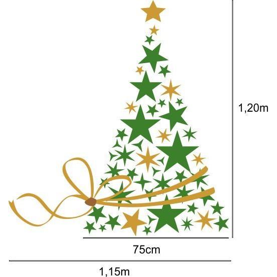 Adesivo Arvore de Estrelas com Laço Dourado - 2523  - Fac Signs