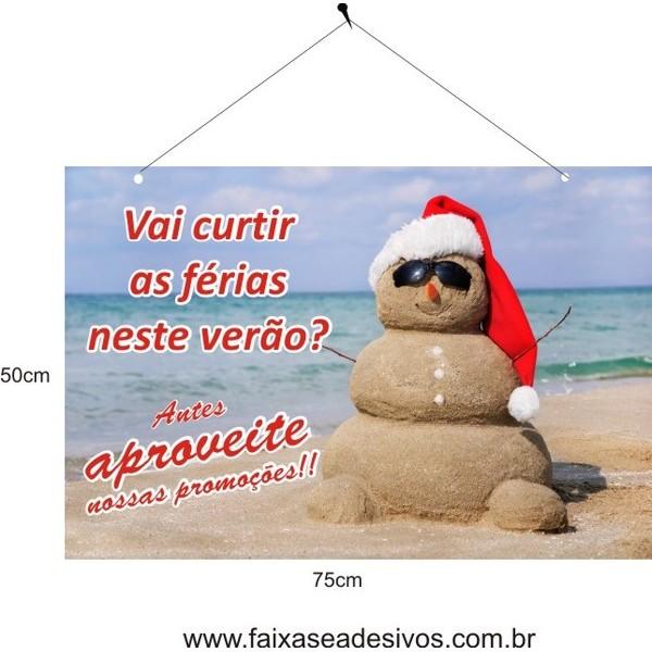 Placa de Natal Boneco de Areia 75 x 50cm  - Fac Signs