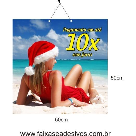 Placa de Natal Mamãe Noel 50 x 50cm  - Fac Signs