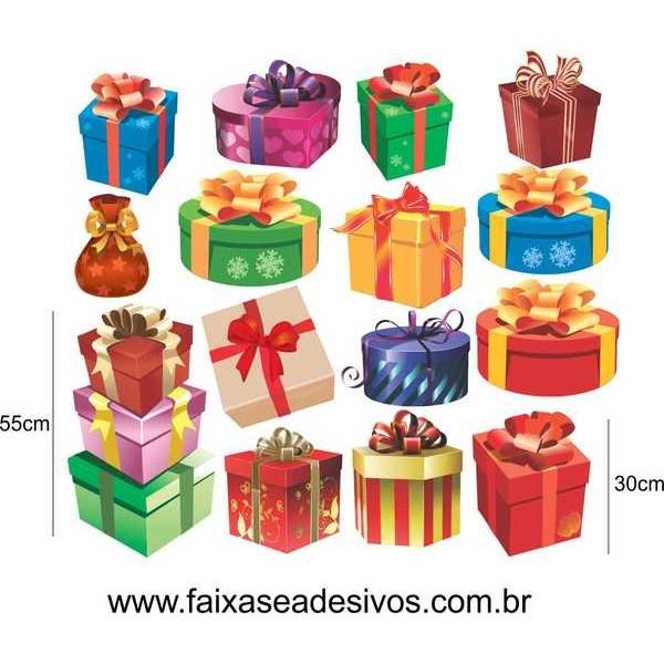 Adesivo Natal Caixa de Presentes Variados 1,20 x 1,00m  - Fac Signs