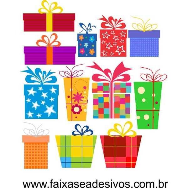 Adesivo Natal Caixa de Presente Cartoon 1,00 x 1,00m  - Fac Signs
