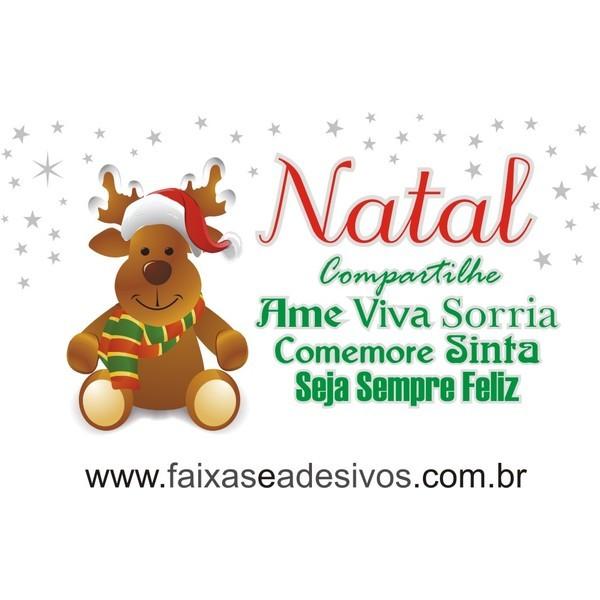 Adesivo Feliz Natal Rena 1,20 x 0,50m  - Fac Signs