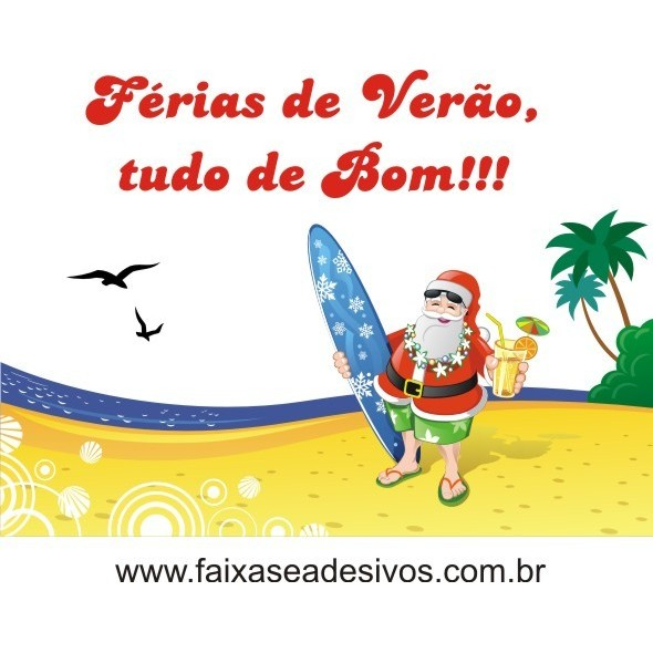 Adesivo Papai Noel Férias na Praia 1,00 x 0,85m  - Fac Signs