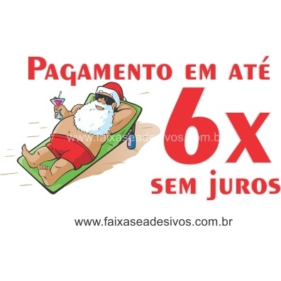 Adesivo Papai Noel na Praia 1,00 x 0,40m  - Fac Signs