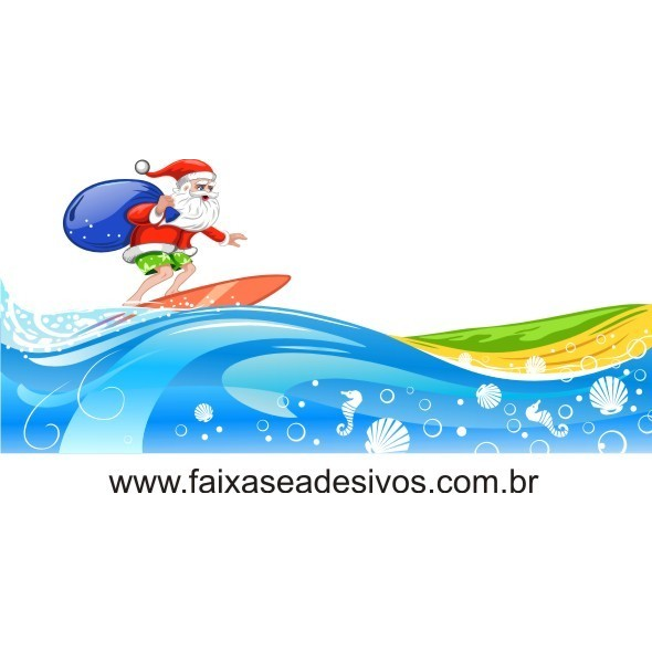 Adesivo Papai Noel Surfando 1,15 x 0,70m  - FAC Signs Impressão Digital