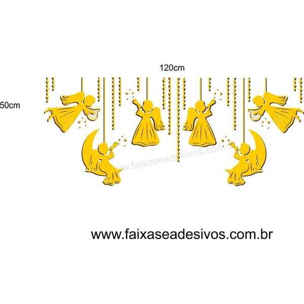Penduricalhos Anjos de Natal 1,20 x 0,50m  - Fac Signs