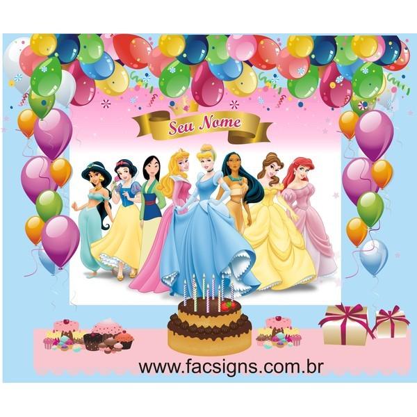Princesas aniversário decoração mesa 1,50 x 1,00  - FAC Signs Impressão Digital