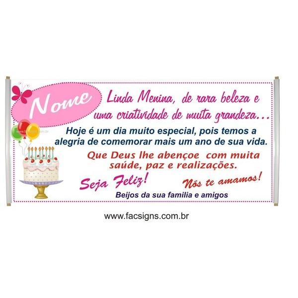 545 -Faixa Aniversário 1,50 x 0,70m Linda  - FAC Signs Impressão Digital
