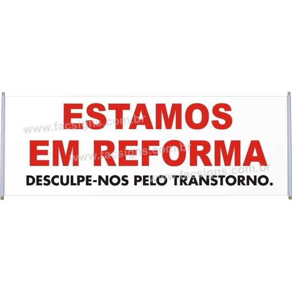 Faixa Estamos em Reforma 2,00 x 0,70  - FAC Signs Impressão Digital