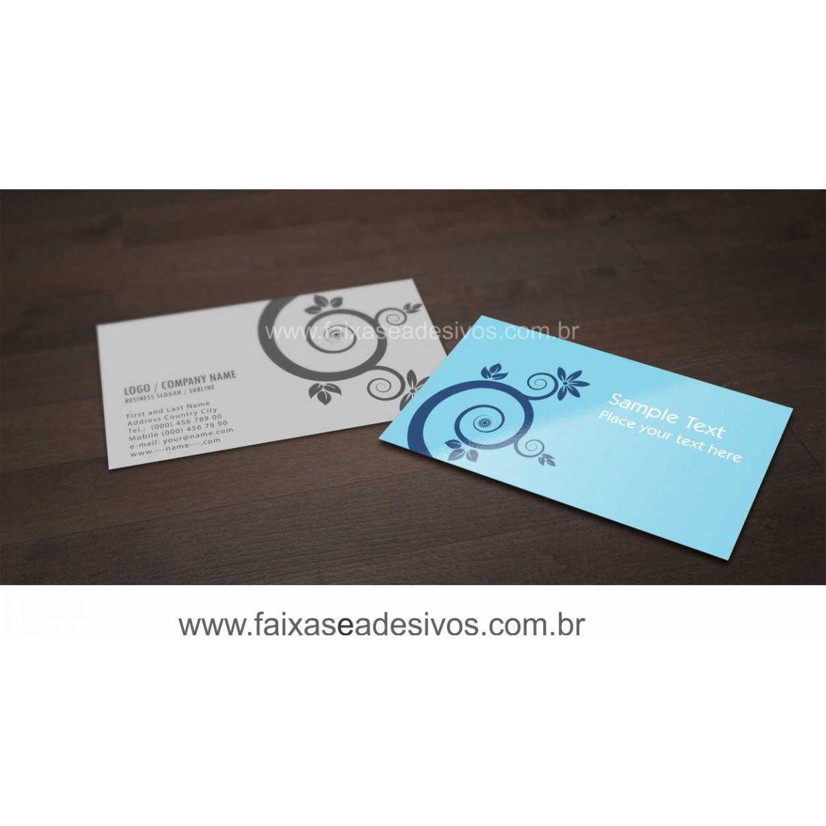 012G - Cartão de Visita 4x1 cor  - Verniz UV Total Frente  - FAC Signs Impressão Digital