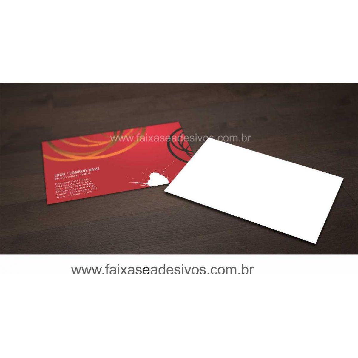 014G - Cartão de Visita 4x0 cor - Laminação Fosca Frente  - Fac Signs