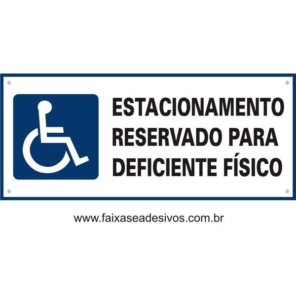 Placa Deficiente Fisico Estacionamento 35x15cm  - FAC Signs Impressão Digital