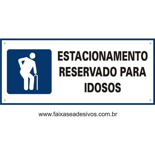 Placa Idosos Estacionamento 35x15cm  - FAC Signs Impressão Digital