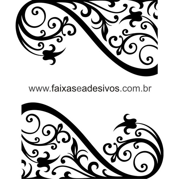 Vitrine 2 arabescos adesivo recortado 50x90  - FAC Signs Impressão Digital