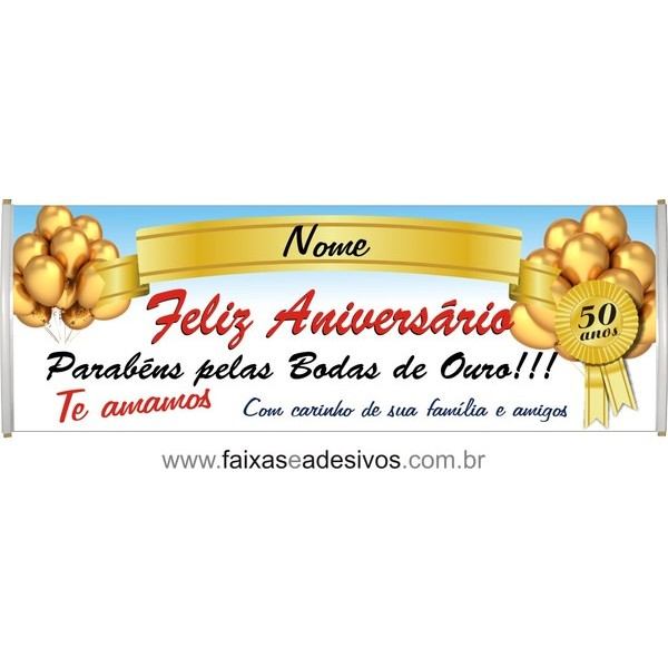 555 - Faixa Aniversário Bodas de ouro 2,00 x 0,70m  - Fac Signs