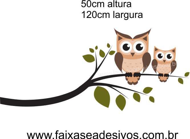 026 - Galho corujinhas marron 50x120cm  - Fac Signs