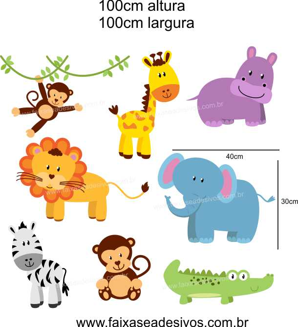028 - Safari cartela de adesivos 100x100cm  - Fac Signs