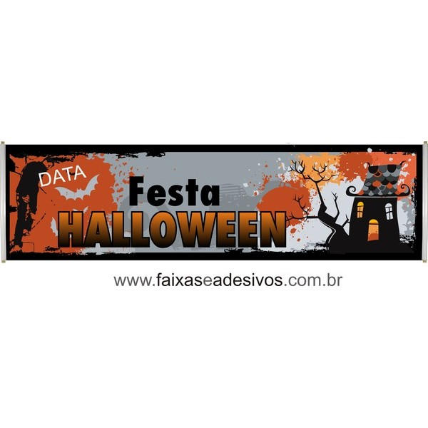 Halloween faixa em lona 250x70  - FAC Signs Impressão Digital