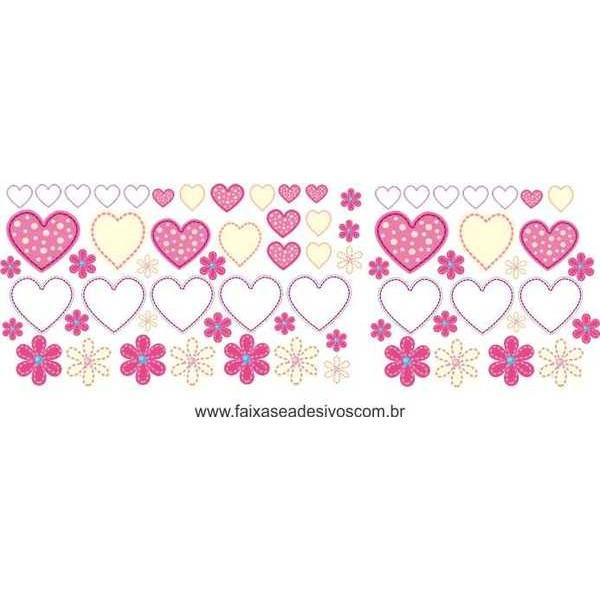 AB202 - Adesivo Cartela de Flores e Corações!!  - Fac Signs