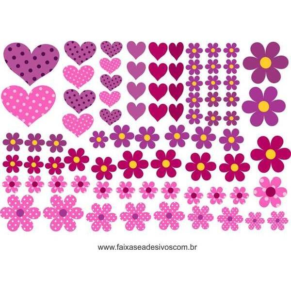 AB201 - Adesivo Cartela de Flores e corações  - FAC Signs Impressão Digital