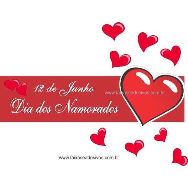 Adesivo Dia dos Namorado Coração com Amor 1,20 x 0,30m  - Fac Signs