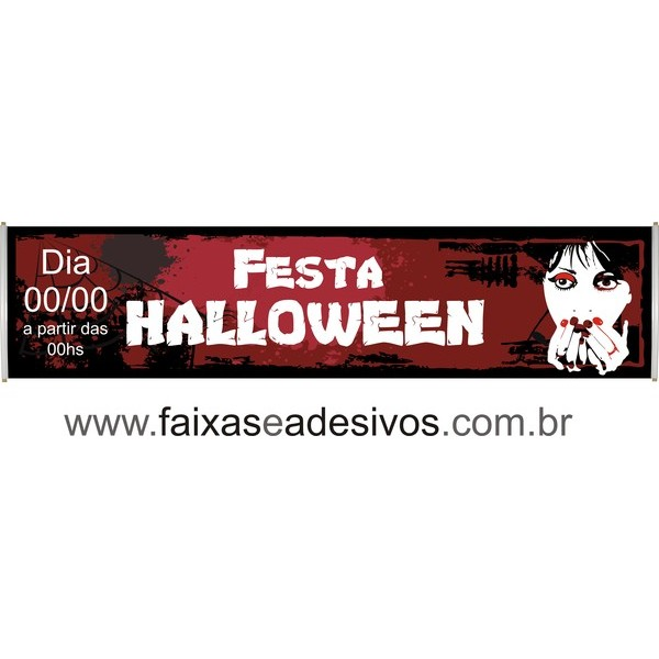 Halloween faixa em lona 300x70  - Fac Signs