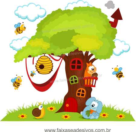 Arvore Adesivo Decorativo Abelhas - Escolha o tamanho - R087  - Fac Signs
