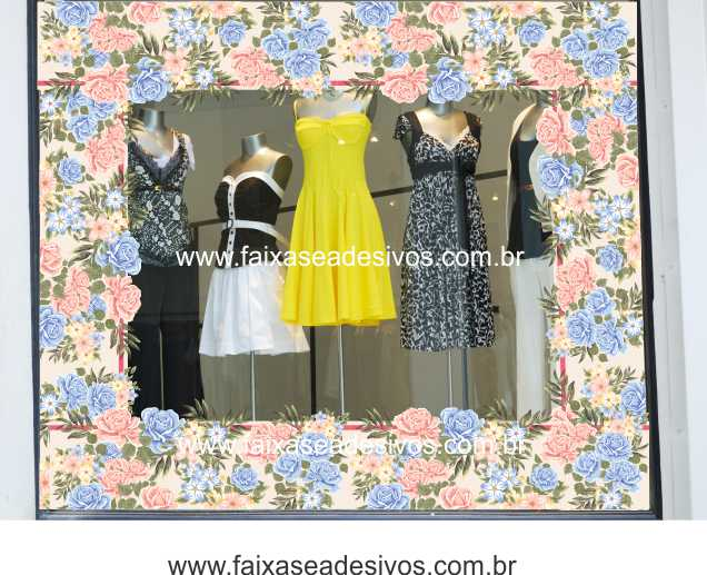 Adesivo Barrado Floral Azul - B102  - Fac Signs