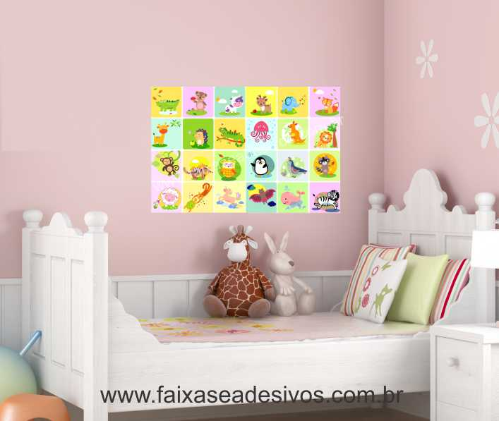 Adesivo Impressão Digital Parede ~ Adesivo Decorativo de Parede Infantil Safarinho 80x60cm P105 FAC Signs Impress u00e3o Digital