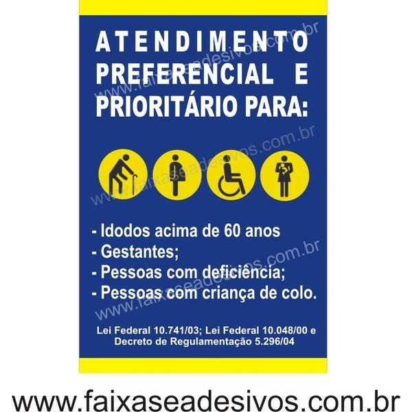 Preferencial 60x40cm  - FAC Signs Impressão Digital