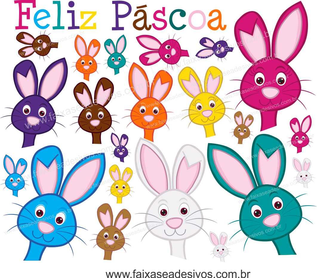 AP423 - Adesivo Decorativo de Páscoa - cartela coelhos curiosos  - Fac Signs