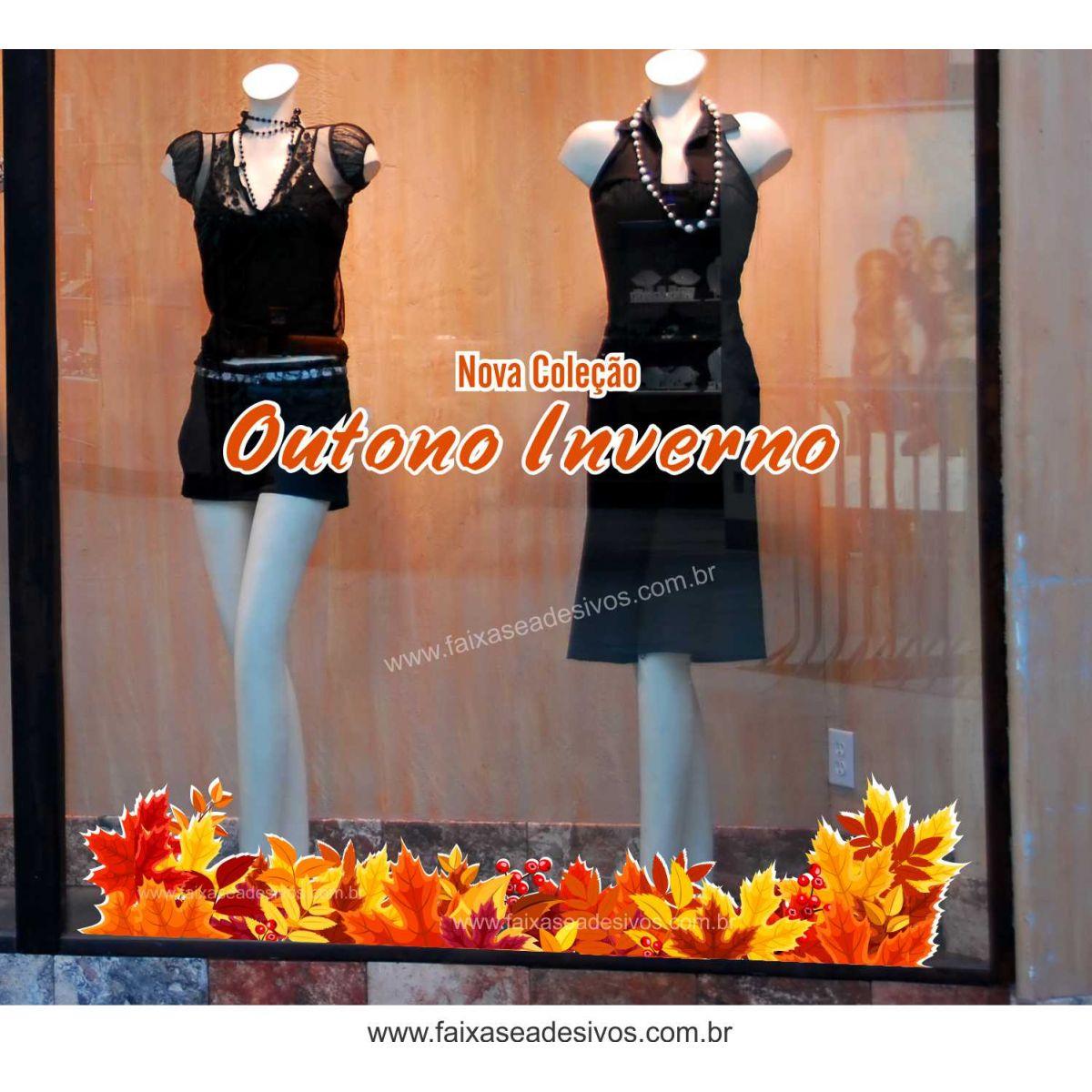 A609 - Adesivo Outono Inverno - Barrado de folhas  - Fac Signs