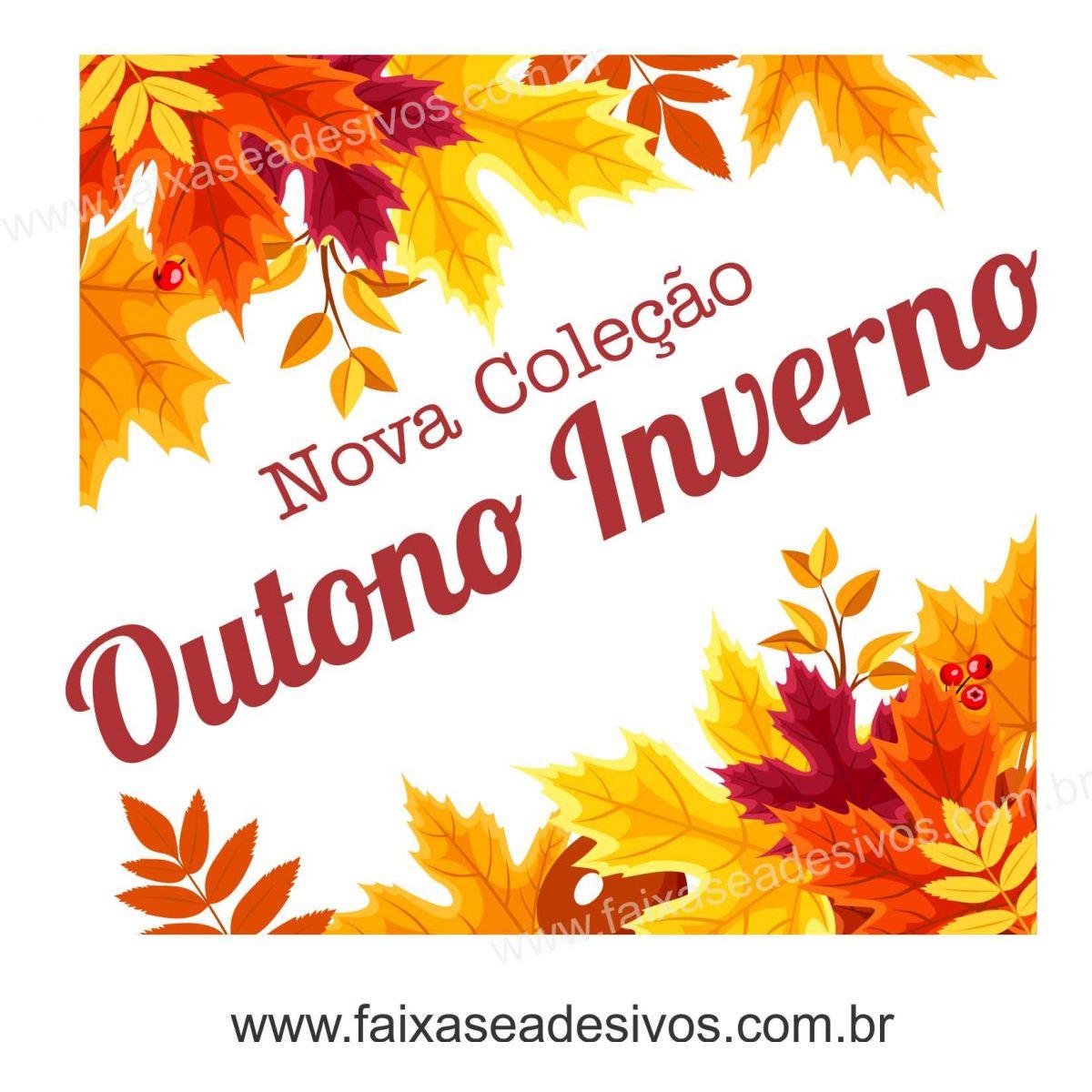A610 - Adesivo Outono Inverno - Cantoneira de folhas  - Fac Signs