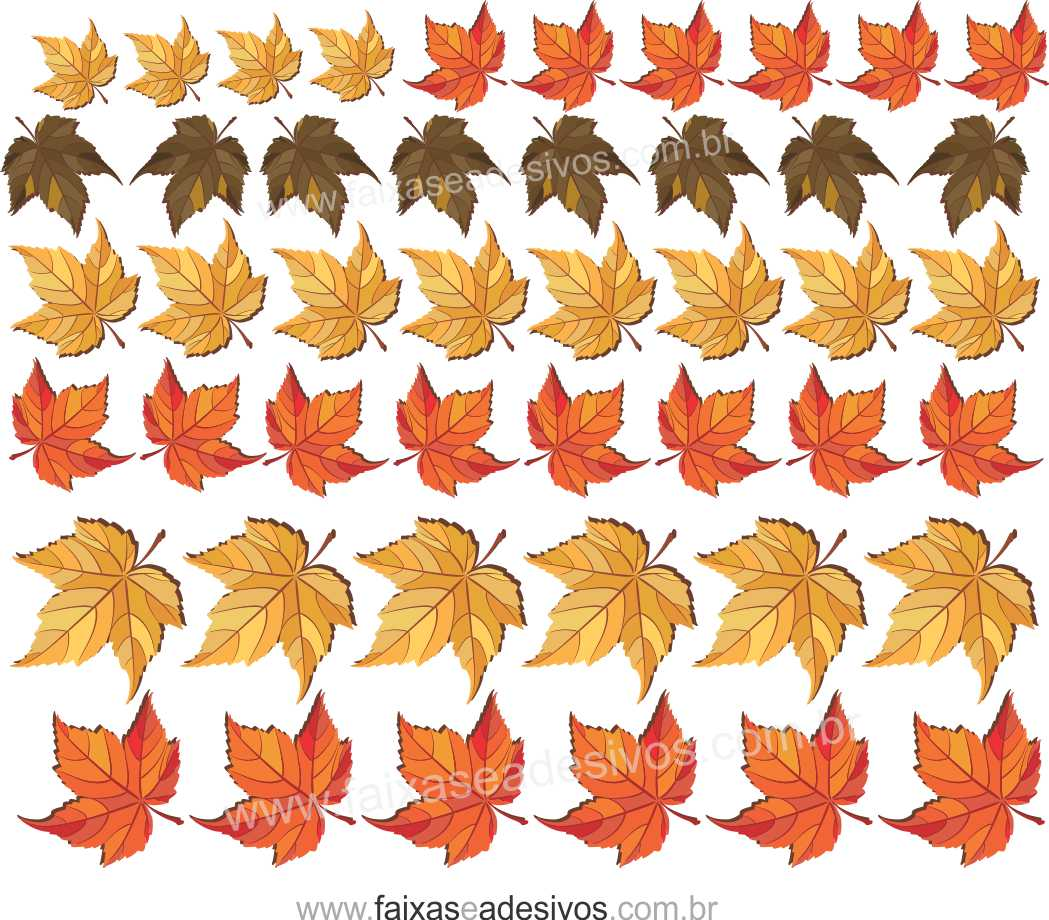 A622 - Adesivo Outono Inverno -Cartela de folhas  - Fac Signs