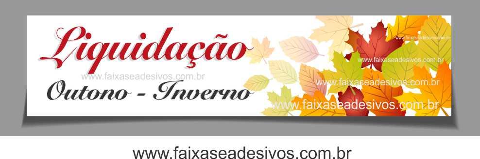 A623 - Adesivo Outono Inverno - Tarja folhas secas Liquidação  - FAC Signs Impressão Digital