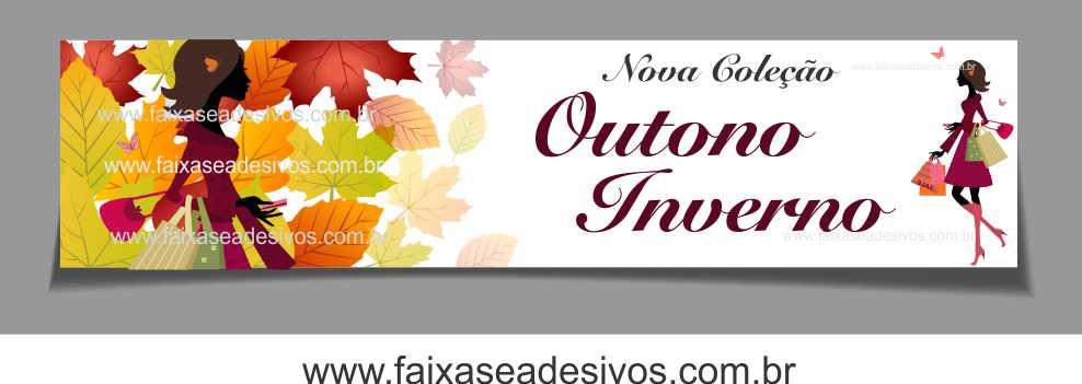 A625 - Adesivo Outono Inverno - Tarja folhas secas Coleção  - Fac Signs