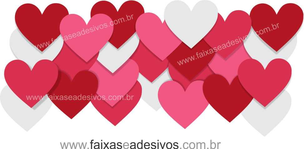 0A303N - Adesivo - Faixa de Corações   - Fac Signs