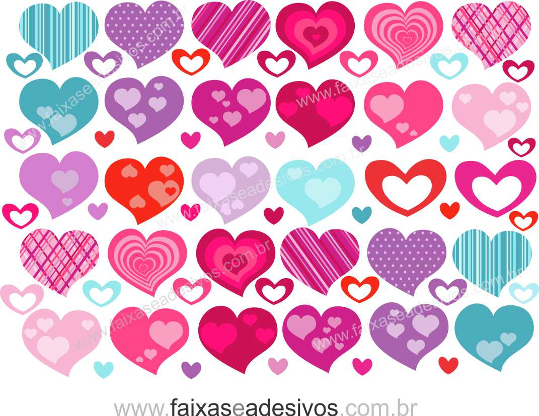 0A304N - Adesivo - Cartela de Corações   - Fac Signs