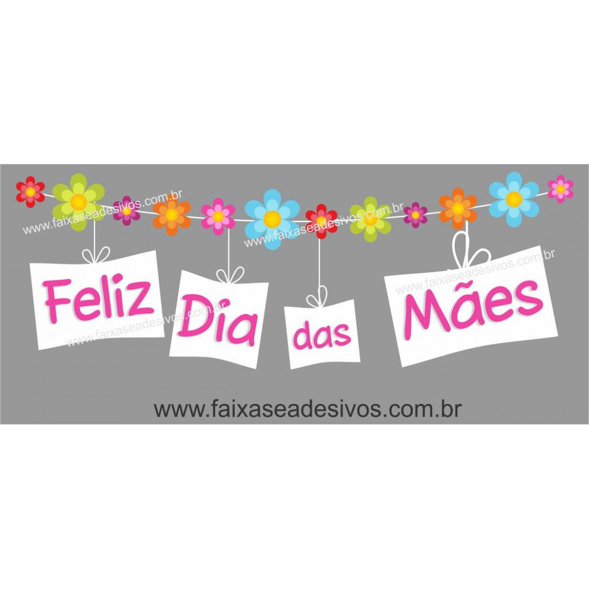 A527M - Adesivo Dia das Mães - Varal Florido  - Fac Signs