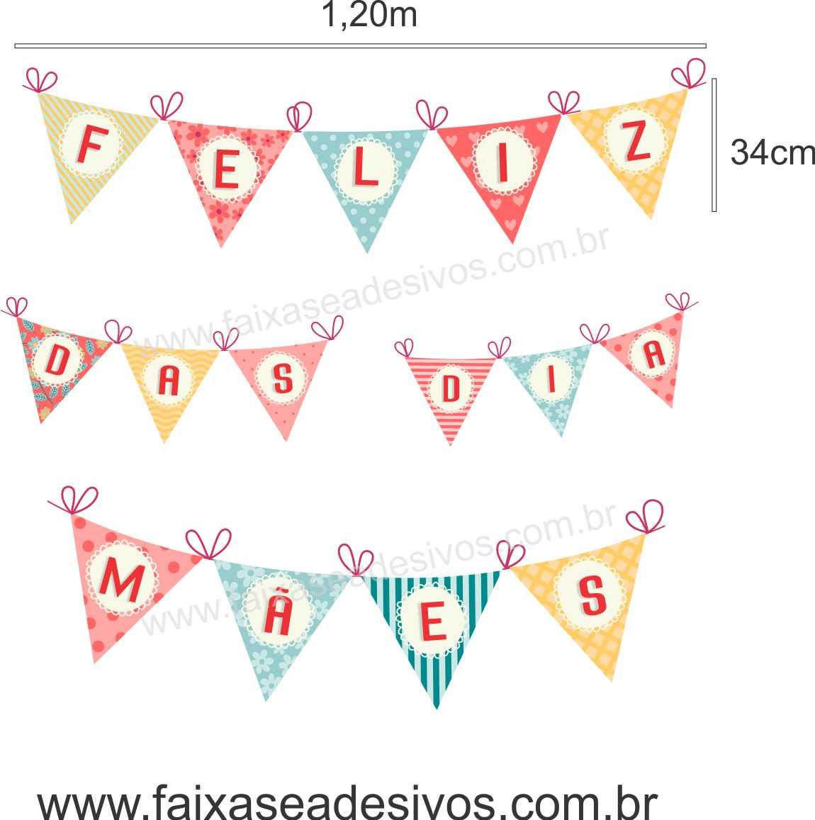 A526M - Adesivo Dia das Mães - Bandeirinhas  - Fac Signs