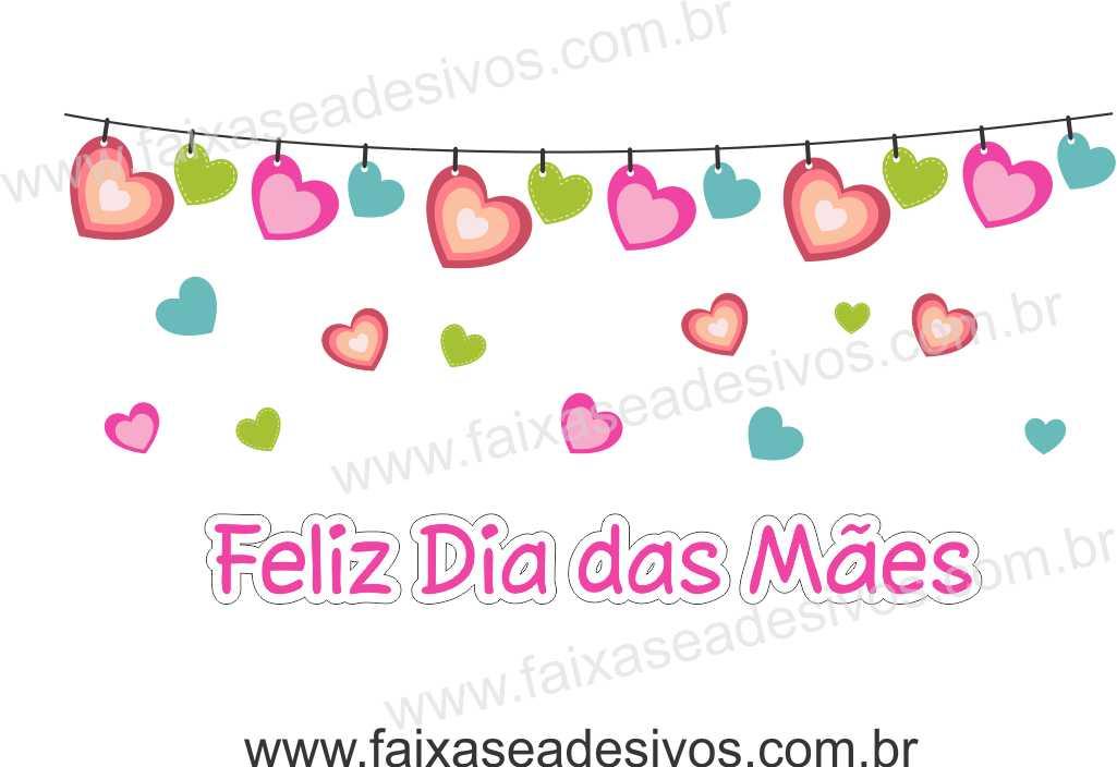 A528M - Adesivo Dia das Mães - Varal Corações  - Fac Signs
