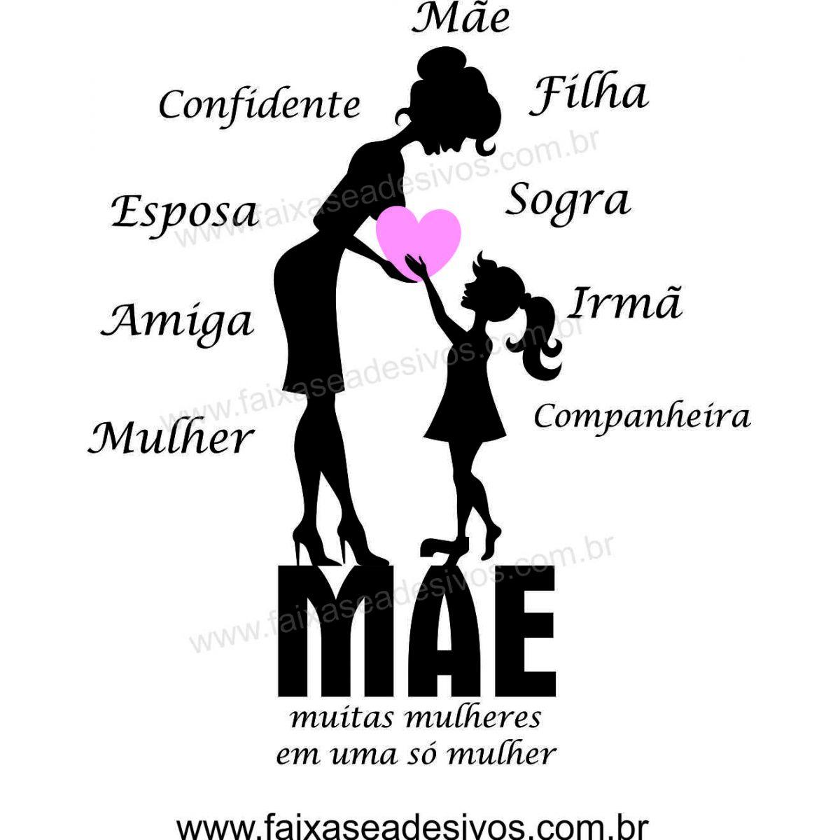 A523M - Adesivo Dia das Mães - Silueta Branca Mãe e filha  - Fac Signs
