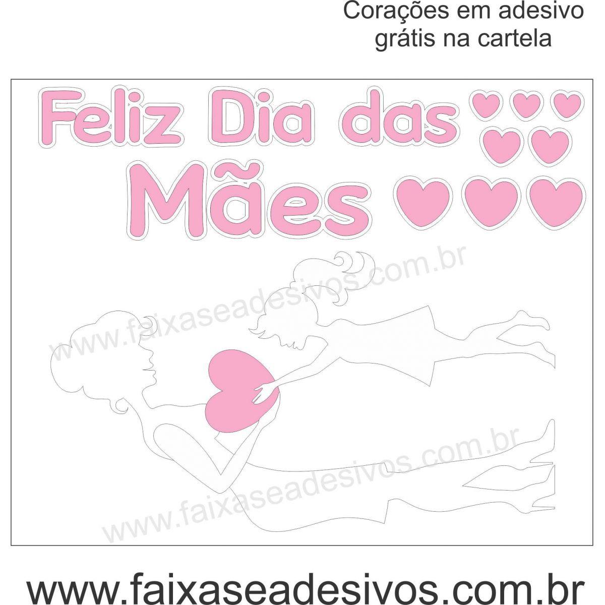 A523M - Adesivo Dia das Mães - Silueta Branca Amor  - Fac Signs