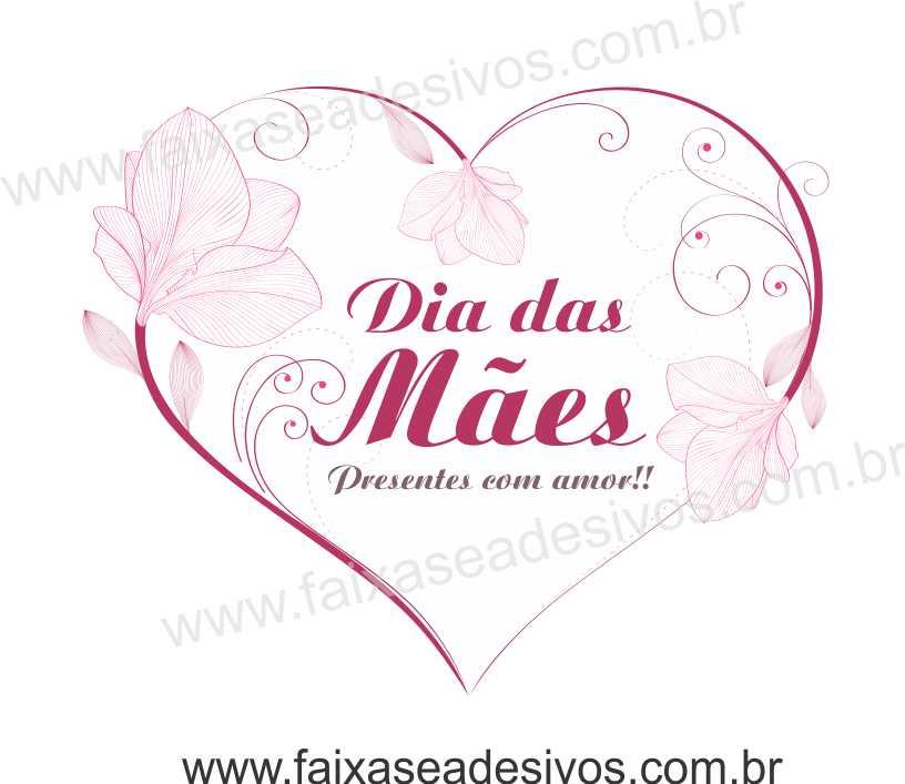 A529M - Adesivo Dia das Mães - Coração Delicado  - Fac Signs